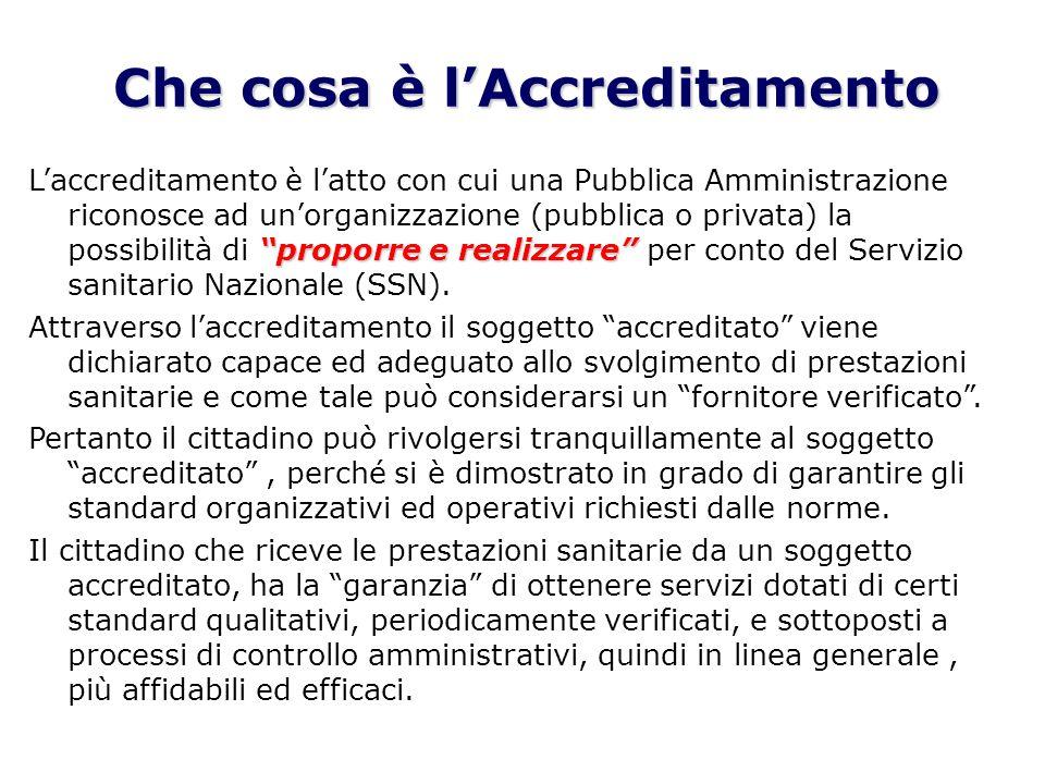 Che cosa è lAccreditamento proporre e realizzare Laccreditamento è latto con cui una Pubblica Amministrazione riconosce ad unorganizzazione (pubblica