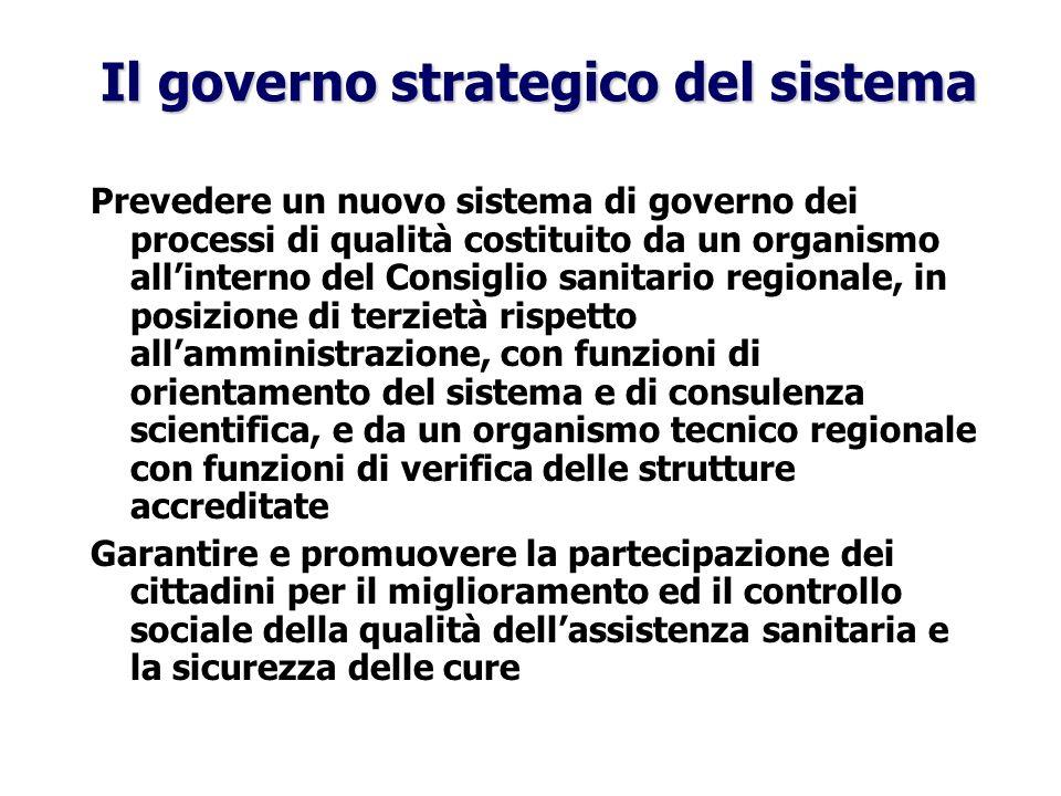 Il governo strategico del sistema Prevedere un nuovo sistema di governo dei processi di qualità costituito da un organismo allinterno del Consiglio sa