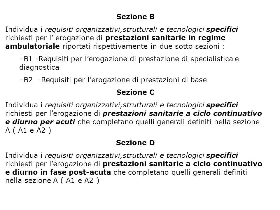 Sezione B Individua i requisiti organizzativi,strutturali e tecnologici specifici richiesti per l erogazione di prestazioni sanitarie in regime ambula