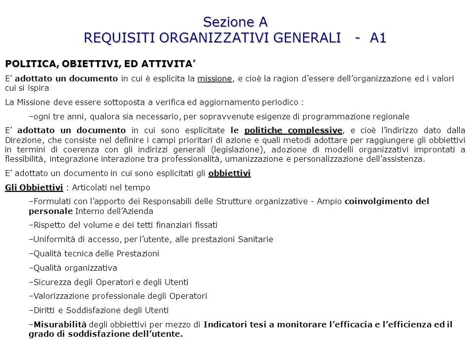 Sezione A REQUISITI ORGANIZZATIVI GENERALI - A1 POLITICA, OBIETTIVI, ED ATTIVITA missione E adottato un documento in cui è esplicita la missione, e ci
