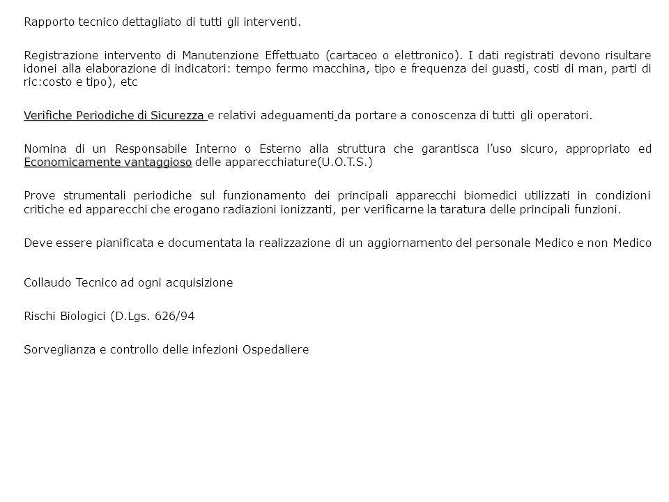 Rapporto tecnico dettagliato di tutti gli interventi. Registrazione intervento di Manutenzione Effettuato (cartaceo o elettronico). I dati registrati