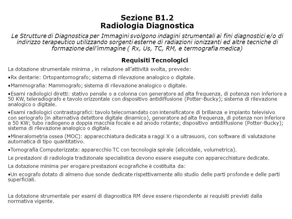 Sezione B1.2 Radiologia Diagnostica Le Strutture di Diagnostica per Immagini svolgono indagini strumentali ai fini diagnostici e/o di indirizzo terape