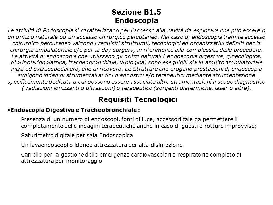 Sezione B1.5 Endoscopia Le attività di Endoscopia si caratterizzano per laccesso alla cavità da esplorare che può essere o un orifizio naturale od un