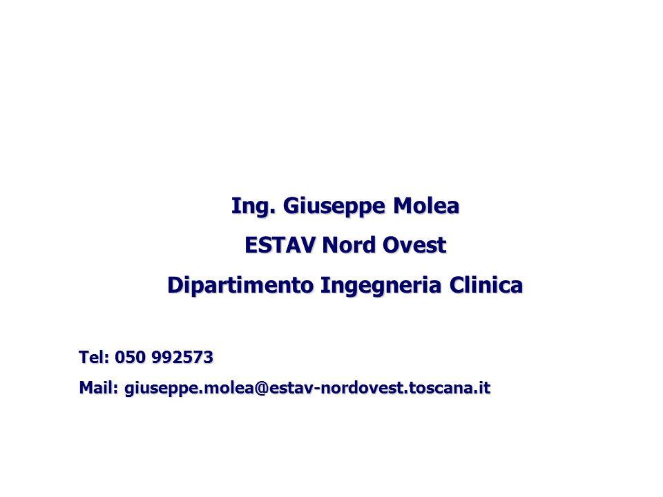 Ing. Giuseppe Molea ESTAV Nord Ovest Dipartimento Ingegneria Clinica Tel: 050 992573 Mail: giuseppe.molea@estav-nordovest.toscana.it