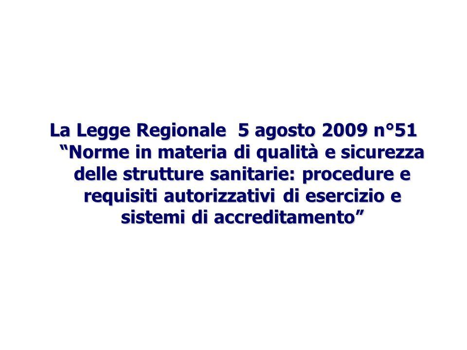 La Legge Regionale 5 agosto 2009 n°51 Norme in materia di qualità e sicurezza delle strutture sanitarie: procedure e requisiti autorizzativi di eserci