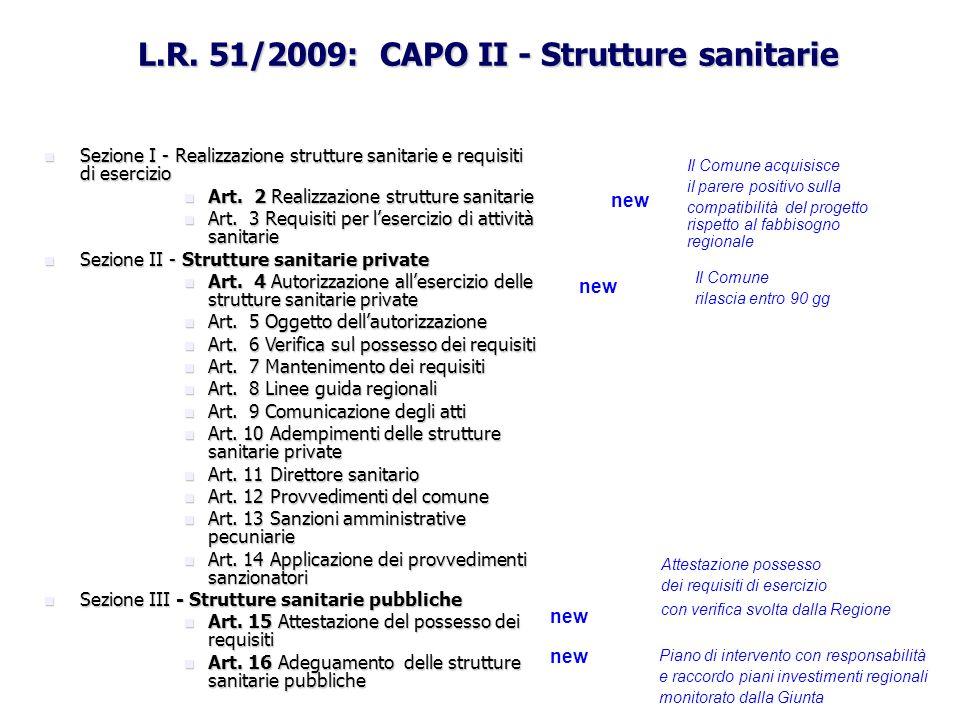 L.R. 51/2009: CAPO II - Strutture sanitarie Sezione I - Realizzazione strutture sanitarie e requisiti di esercizio Sezione I - Realizzazione strutture
