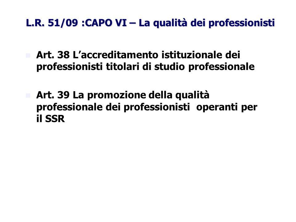 L.R. 51/09 :CAPO VI – La qualità dei professionisti Art. 38 Laccreditamento istituzionale dei professionisti titolari di studio professionale Art. 39
