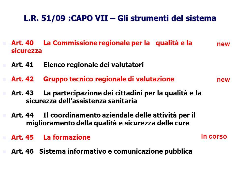 L.R. 51/09 :CAPO VII – Gli strumenti del sistema Art. 40 La Commissione regionale per la qualità e la sicurezza Art. 41 Elenco regionale dei valutator