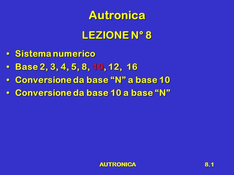 AUTRONICA8.1 Autronica LEZIONE N° 8 Sistema numericoSistema numerico Base 2, 3, 4, 5, 8, 10, 12, 16Base 2, 3, 4, 5, 8, 10, 12, 16 Conversione da base