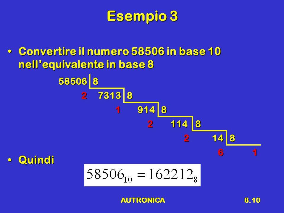 AUTRONICA8.10 Esempio 3 Convertire il numero 58506 in base 10 nellequivalente in base 8Convertire il numero 58506 in base 10 nellequivalente in base 8