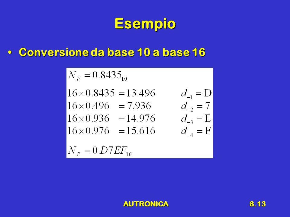 AUTRONICA8.13 Esempio Conversione da base 10 a base 16Conversione da base 10 a base 16