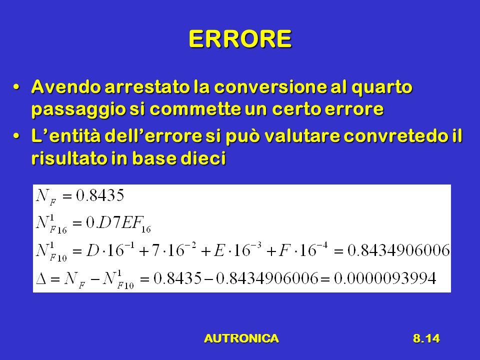AUTRONICA8.14 ERRORE Avendo arrestato la conversione al quarto passaggio si commette un certo erroreAvendo arrestato la conversione al quarto passaggi