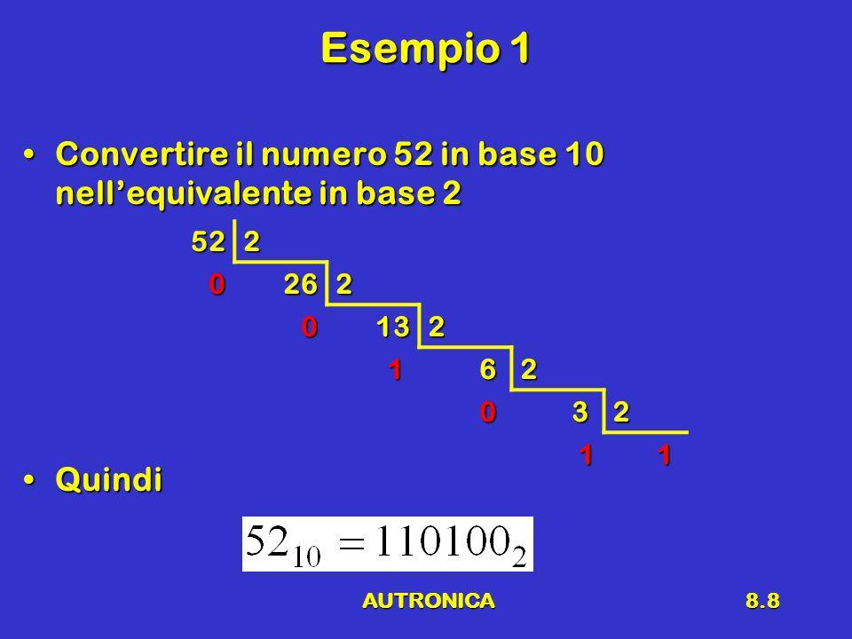 AUTRONICA8.8 Esempio 1 Convertire il numero 52 in base 10 nellequivalente in base 2Convertire il numero 52 in base 10 nellequivalente in base 2 Quindi