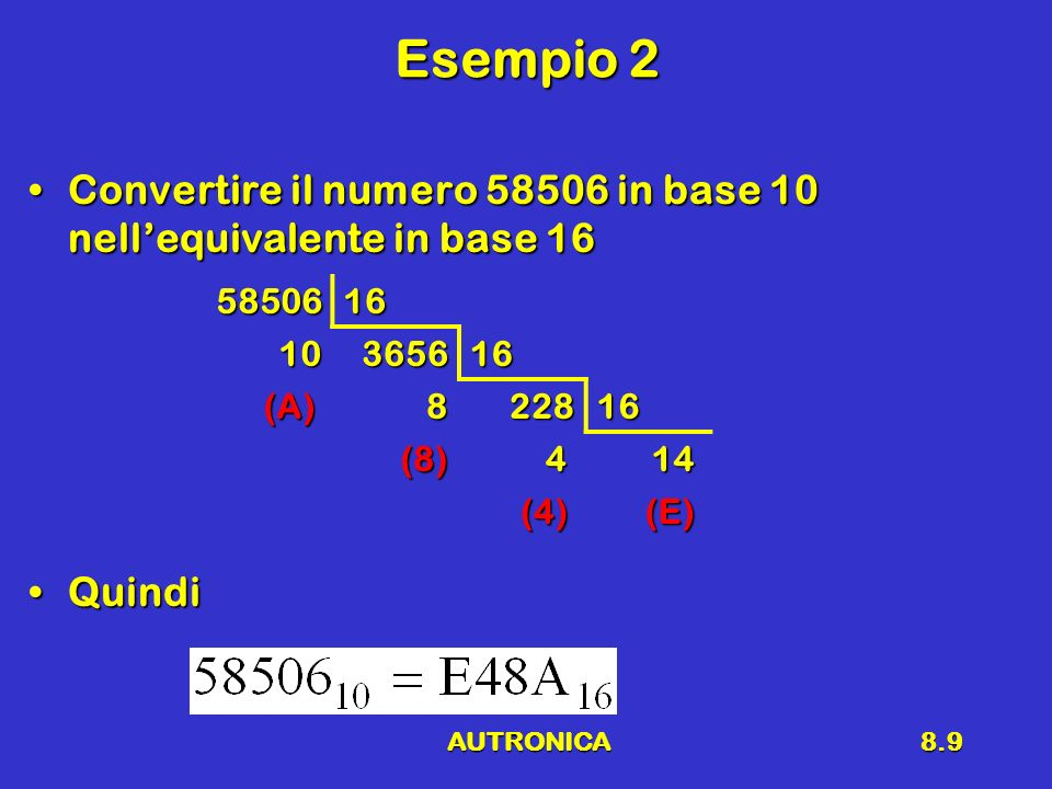 AUTRONICA8.9 Esempio 2 Convertire il numero 58506 in base 10 nellequivalente in base 16Convertire il numero 58506 in base 10 nellequivalente in base 1