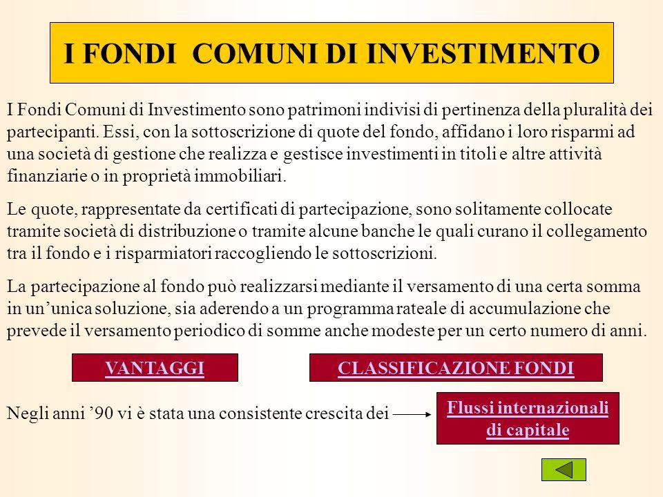 I FONDI COMUNI DI INVESTIMENTO I Fondi Comuni di Investimento sono patrimoni indivisi di pertinenza della pluralità dei partecipanti. Essi, con la sot