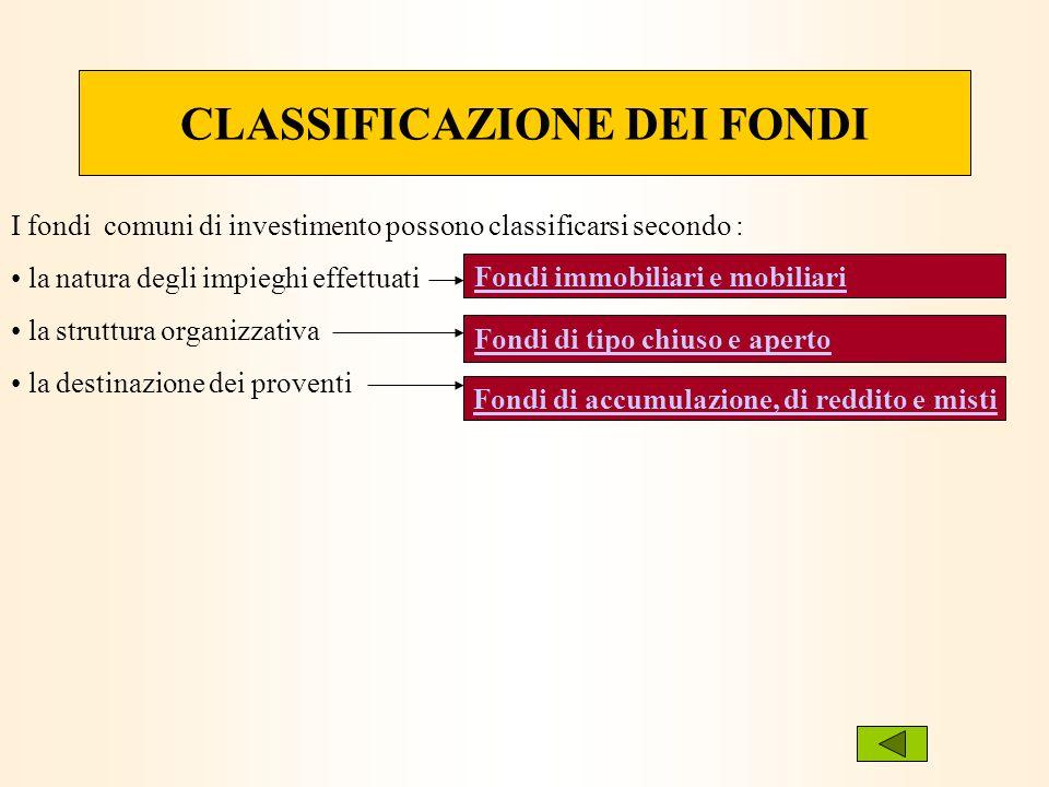 CLASSIFICAZIONE DEI FONDI I fondi comuni di investimento possono classificarsi secondo : la natura degli impieghi effettuati la struttura organizzativ