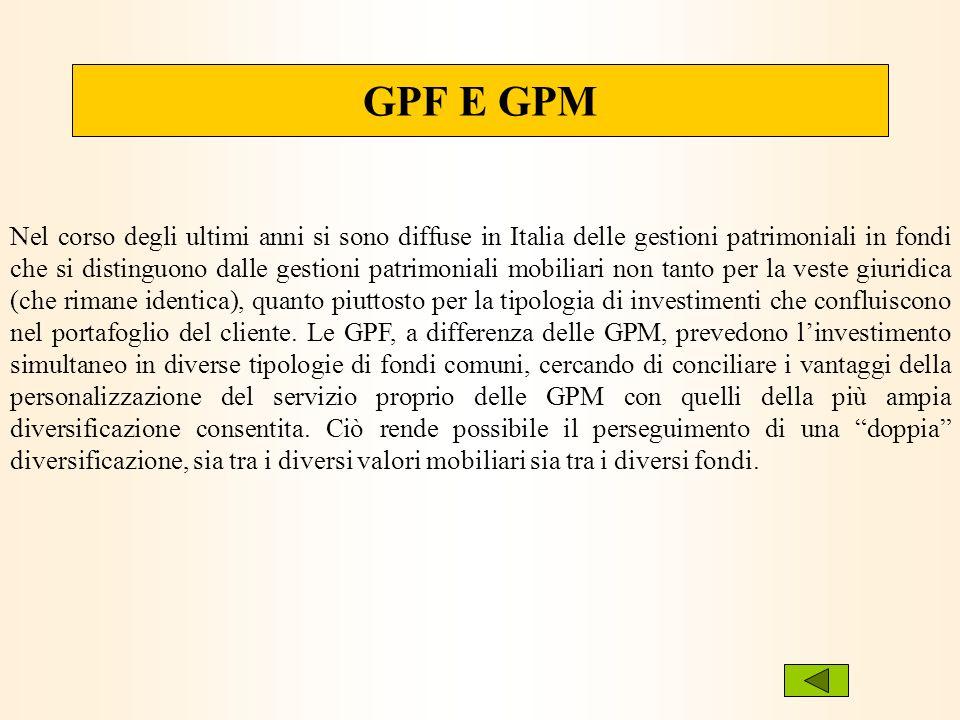 Nel corso degli ultimi anni si sono diffuse in Italia delle gestioni patrimoniali in fondi che si distinguono dalle gestioni patrimoniali mobiliari no