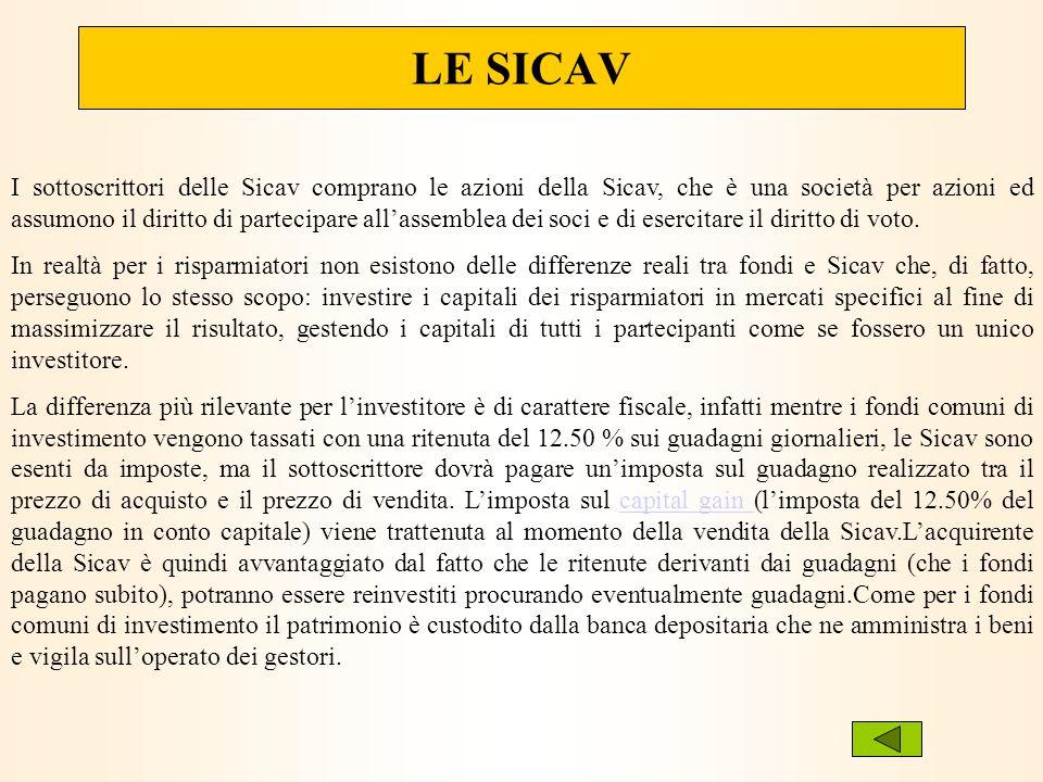 LE SICAV I sottoscrittori delle Sicav comprano le azioni della Sicav, che è una società per azioni ed assumono il diritto di partecipare allassemblea