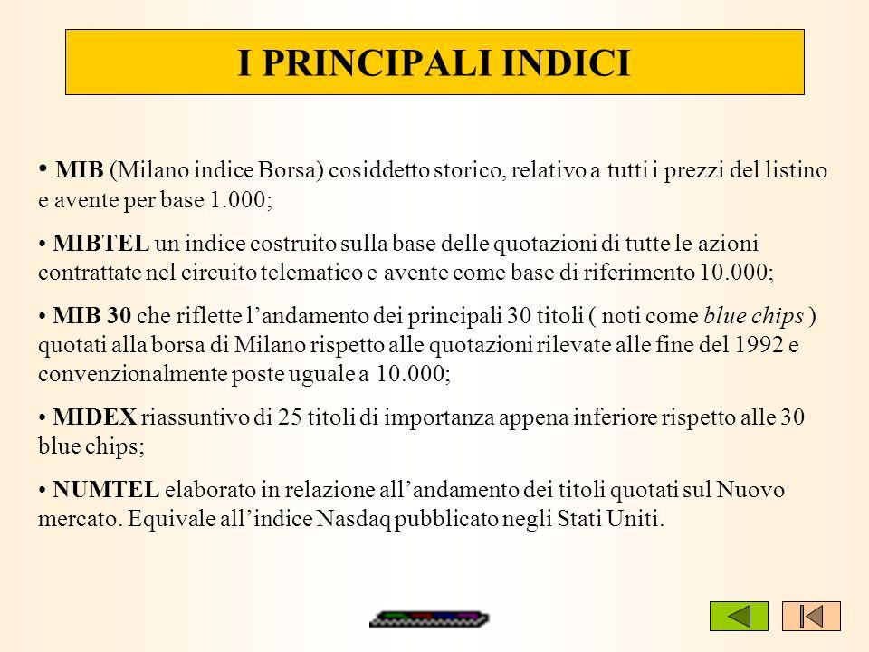 I PRINCIPALI INDICI MIB (Milano indice Borsa) cosiddetto storico, relativo a tutti i prezzi del listino e avente per base 1.000; MIBTEL un indice cost