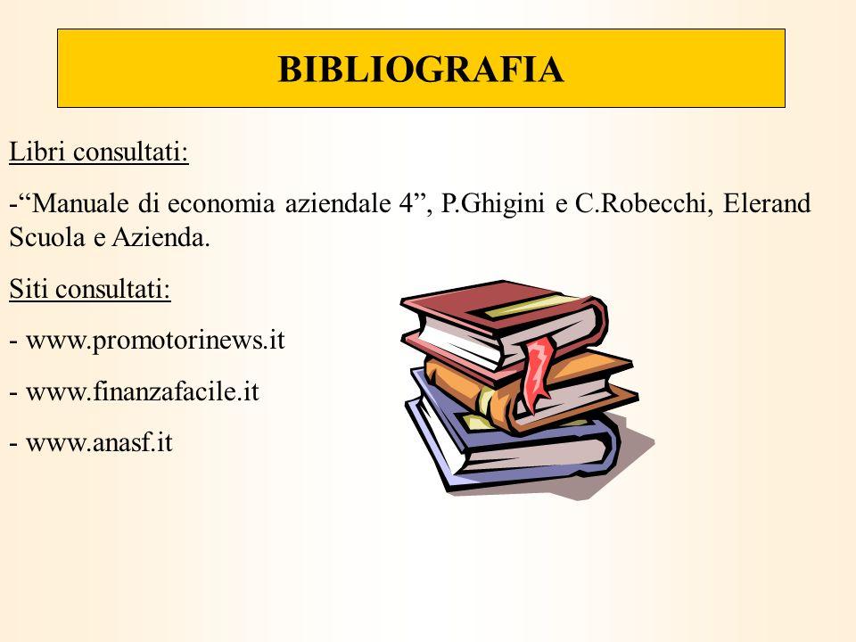 BIBLIOGRAFIA Libri consultati: -Manuale di economia aziendale 4, P.Ghigini e C.Robecchi, Elerand Scuola e Azienda. Siti consultati: - www.promotorinew