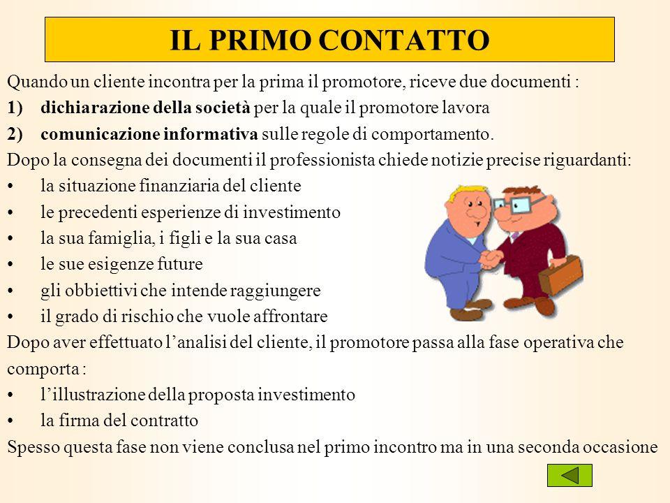 Quando un cliente incontra per la prima il promotore, riceve due documenti : 1)dichiarazione della società per la quale il promotore lavora 2)comunica