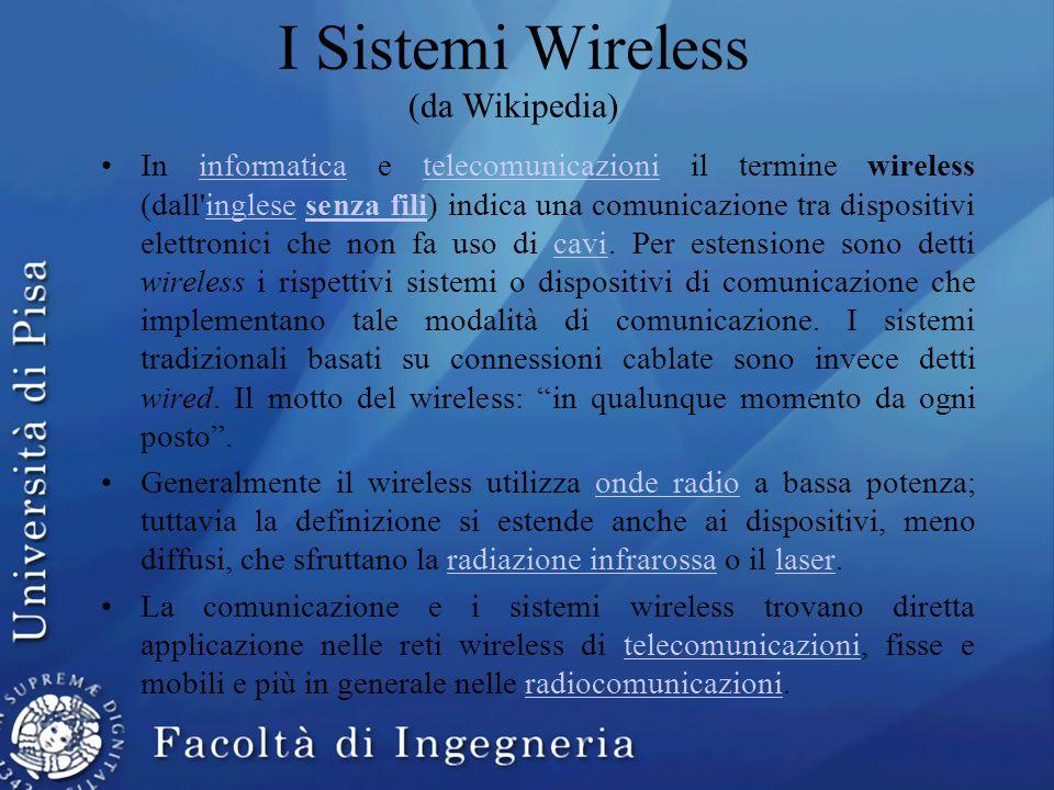 I Sistemi Wireless (da Wikipedia) In informatica e telecomunicazioni il termine wireless (dall'inglese senza fili) indica una comunicazione tra dispos