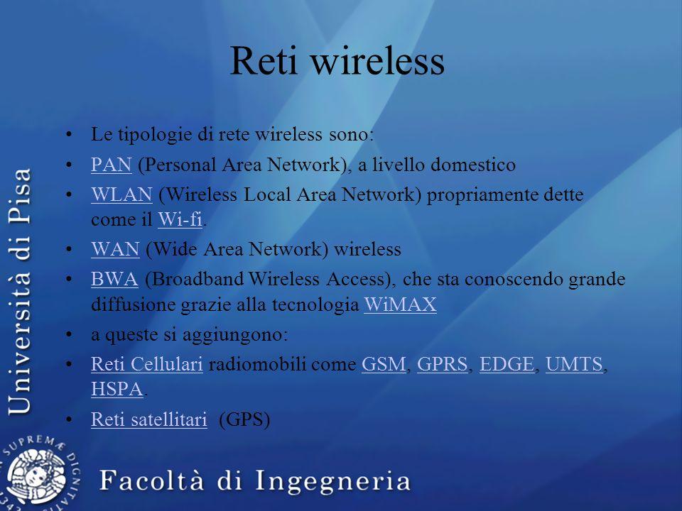 Reti wireless Le tipologie di rete wireless sono: PAN (Personal Area Network), a livello domesticoPAN WLAN (Wireless Local Area Network) propriamente