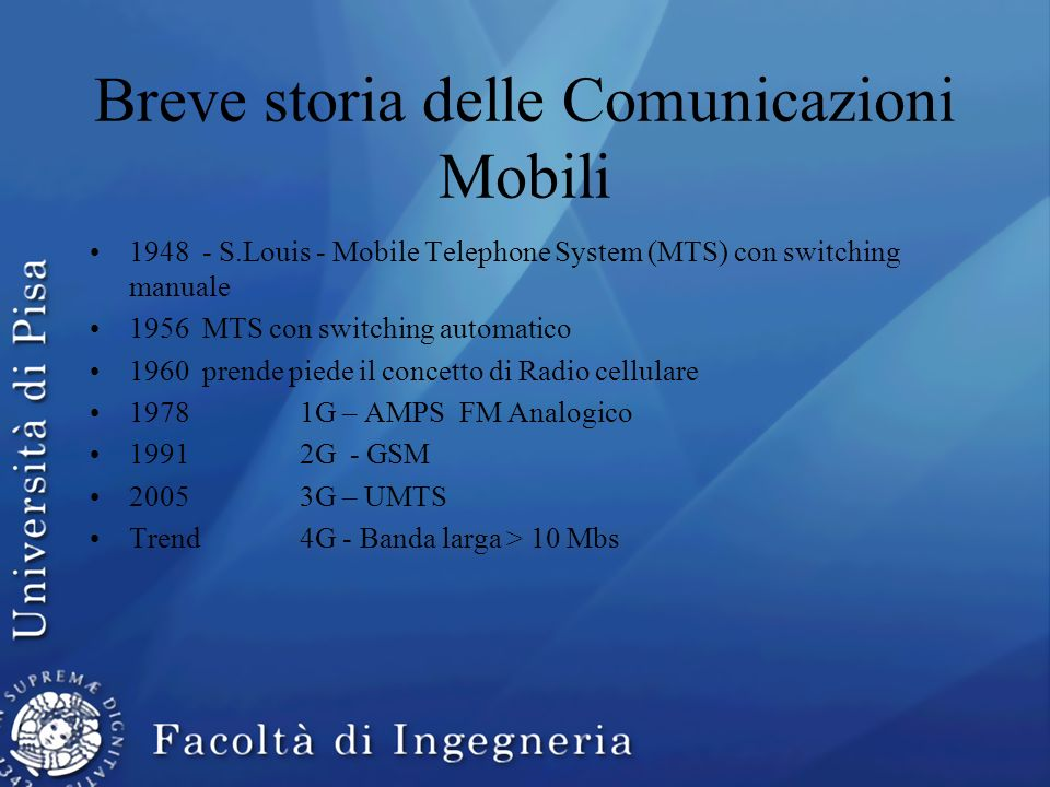 Breve storia delle Comunicazioni Mobili 1948 - S.Louis - Mobile Telephone System (MTS) con switching manuale 1956 MTS con switching automatico 1960 pr