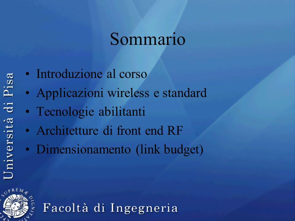 Sommario Introduzione al corso Applicazioni wireless e standard Tecnologie abilitanti Architetture di front end RF Dimensionamento (link budget)