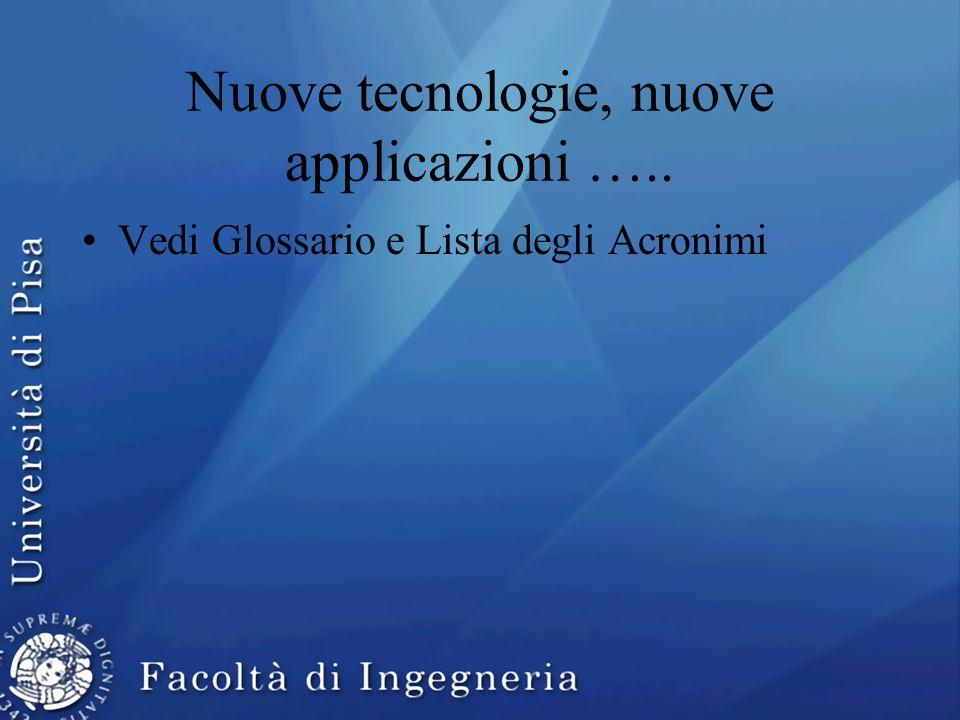 Nuove tecnologie, nuove applicazioni ….. Vedi Glossario e Lista degli Acronimi