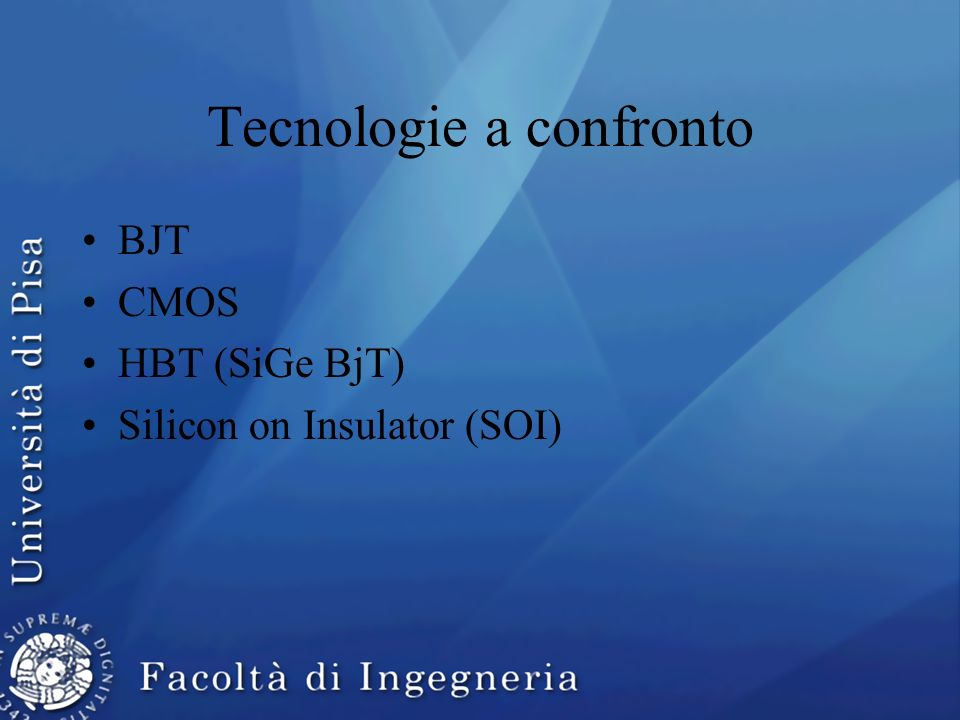 Tecnologie a confronto BJT CMOS HBT (SiGe BjT) Silicon on Insulator (SOI)