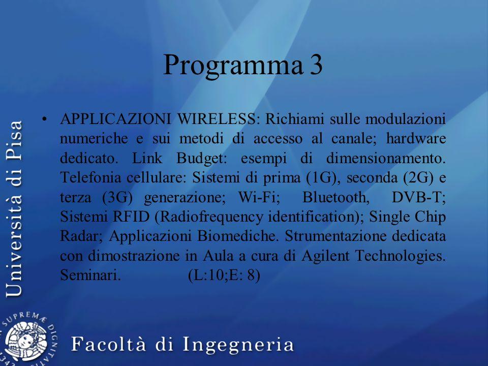 Programma 3 APPLICAZIONI WIRELESS: Richiami sulle modulazioni numeriche e sui metodi di accesso al canale; hardware dedicato. Link Budget: esempi di d