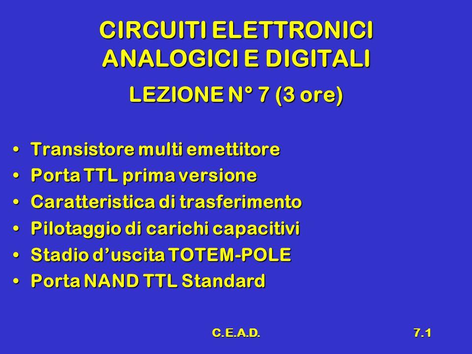C.E.A.D.7.2 Richiami Inverter a BJTInverter a BJT Caratteristica di trasferimentoCaratteristica di trasferimento Inverter idealeInverter ideale Margini di rumoreMargini di rumore Fan-in e Fan-outFan-in e Fan-out Tempi di ritardoTempi di ritardo Dissipazione di potenzaDissipazione di potenza Logica DTLLogica DTL Caratteristiche statiche e dinamiche della logica DTLCaratteristiche statiche e dinamiche della logica DTL