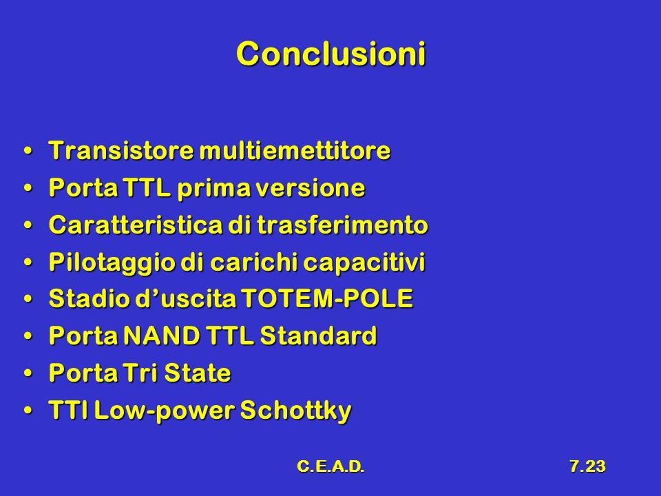 C.E.A.D.7.23 Conclusioni Transistore multiemettitoreTransistore multiemettitore Porta TTL prima versionePorta TTL prima versione Caratteristica di tra