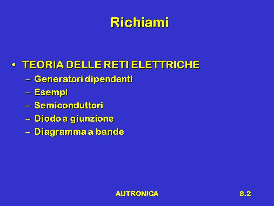 AUTRONICA8.2 Richiami TEORIA DELLE RETI ELETTRICHETEORIA DELLE RETI ELETTRICHE –Generatori dipendenti –Esempi –Semiconduttori –Diodo a giunzione –Diagramma a bande