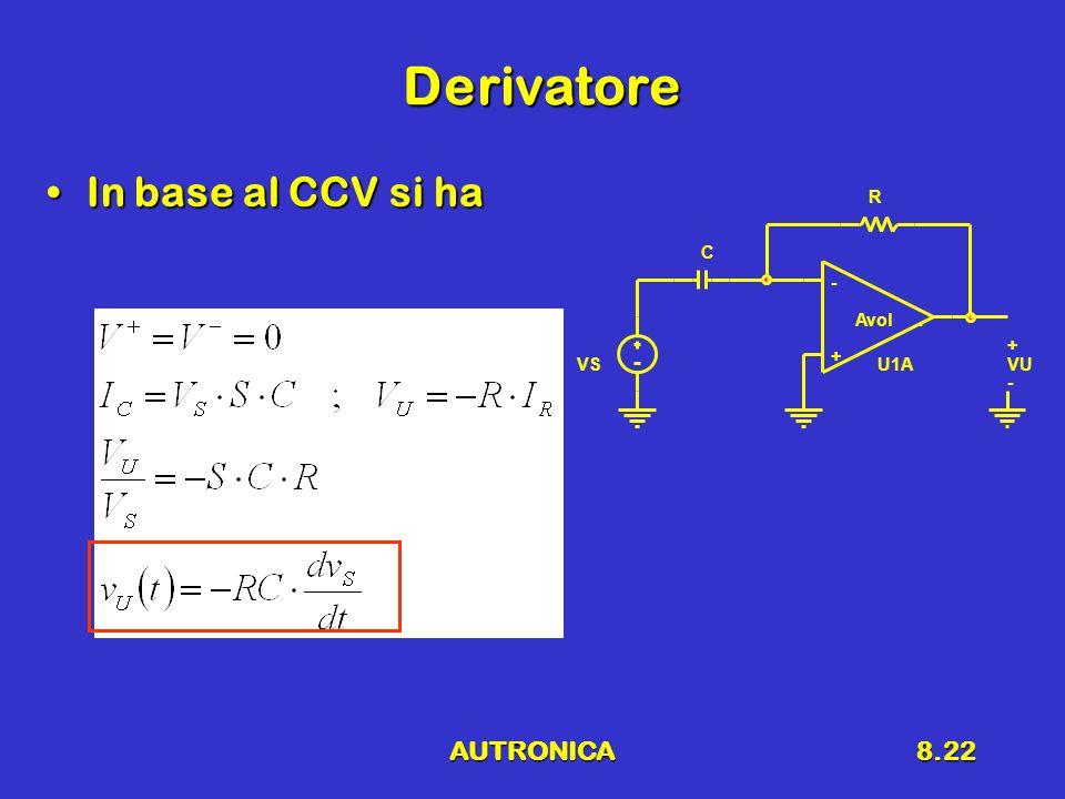 AUTRONICA8.22 Derivatore In base al CCV si haIn base al CCV si ha VSU1A - + Avol. R C VU + -