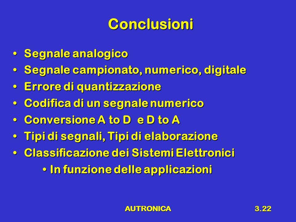 AUTRONICA3.22 Conclusioni Segnale analogicoSegnale analogico Segnale campionato, numerico, digitaleSegnale campionato, numerico, digitale Errore di quantizzazioneErrore di quantizzazione Codifica di un segnale numericoCodifica di un segnale numerico Conversione A to D e D to AConversione A to D e D to A Tipi di segnali, Tipi di elaborazioneTipi di segnali, Tipi di elaborazione Classificazione dei Sistemi ElettroniciClassificazione dei Sistemi Elettronici In funzione delle applicazioniIn funzione delle applicazioni