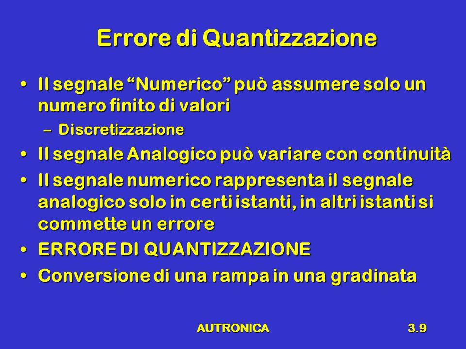 AUTRONICA3.9 Errore di Quantizzazione Il segnale Numerico può assumere solo un numero finito di valoriIl segnale Numerico può assumere solo un numero finito di valori –Discretizzazione Il segnale Analogico può variare con continuitàIl segnale Analogico può variare con continuità Il segnale numerico rappresenta il segnale analogico solo in certi istanti, in altri istanti si commette un erroreIl segnale numerico rappresenta il segnale analogico solo in certi istanti, in altri istanti si commette un errore ERRORE DI QUANTIZZAZIONEERRORE DI QUANTIZZAZIONE Conversione di una rampa in una gradinataConversione di una rampa in una gradinata