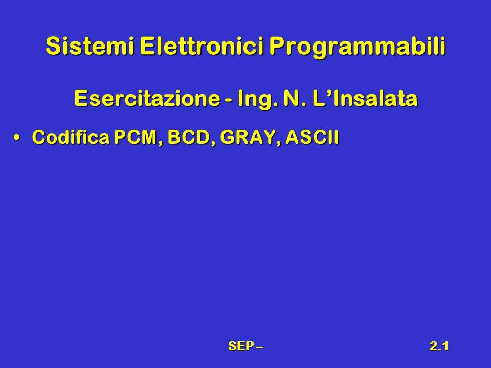 SEP –2.1 Sistemi Elettronici Programmabili Esercitazione - Ing. N. LInsalata Codifica PCM, BCD, GRAY, ASCIICodifica PCM, BCD, GRAY, ASCII