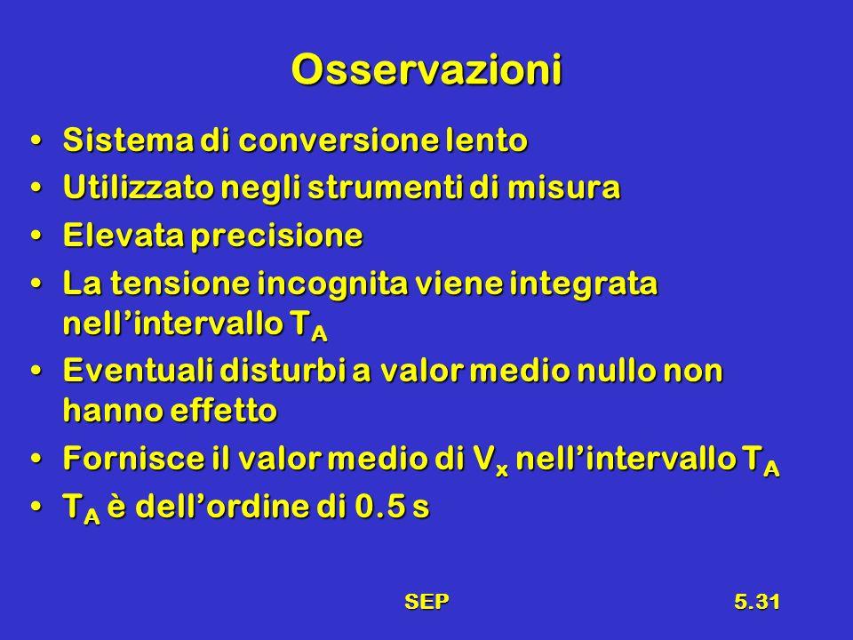 SEP5.31 Osservazioni Sistema di conversione lentoSistema di conversione lento Utilizzato negli strumenti di misuraUtilizzato negli strumenti di misura Elevata precisioneElevata precisione La tensione incognita viene integrata nellintervallo T ALa tensione incognita viene integrata nellintervallo T A Eventuali disturbi a valor medio nullo non hanno effettoEventuali disturbi a valor medio nullo non hanno effetto Fornisce il valor medio di V x nellintervallo T AFornisce il valor medio di V x nellintervallo T A T A è dellordine di 0.5 sT A è dellordine di 0.5 s