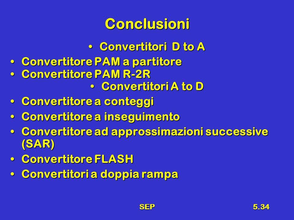 SEP5.34 Conclusioni Convertitori D to AConvertitori D to A Convertitore PAM a partitoreConvertitore PAM a partitore Convertitore PAM R-2RConvertitore PAM R-2R Convertitori A to DConvertitori A to D Convertitore a conteggiConvertitore a conteggi Convertitore a inseguimentoConvertitore a inseguimento Convertitore ad approssimazioni successive (SAR)Convertitore ad approssimazioni successive (SAR) Convertitore FLASHConvertitore FLASH Convertitori a doppia rampaConvertitori a doppia rampa