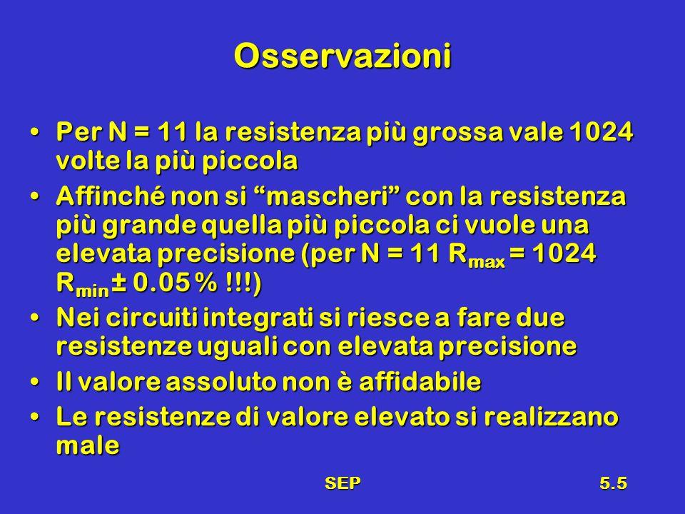 SEP5.5 Osservazioni Per N = 11 la resistenza più grossa vale 1024 volte la più piccolaPer N = 11 la resistenza più grossa vale 1024 volte la più piccola Affinché non si mascheri con la resistenza più grande quella più piccola ci vuole una elevata precisione (per N = 11 R max = 1024 R min ± 0.05 % !!!)Affinché non si mascheri con la resistenza più grande quella più piccola ci vuole una elevata precisione (per N = 11 R max = 1024 R min ± 0.05 % !!!) Nei circuiti integrati si riesce a fare due resistenze uguali con elevata precisioneNei circuiti integrati si riesce a fare due resistenze uguali con elevata precisione Il valore assoluto non è affidabileIl valore assoluto non è affidabile Le resistenze di valore elevato si realizzano maleLe resistenze di valore elevato si realizzano male