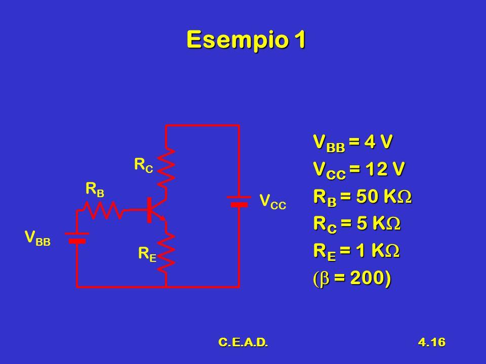 C.E.A.D.4.16 Esempio 1 V BB = 4 V V CC = 12 V R B = 50 K R B = 50 K R C = 5 K R C = 5 K R E = 1 K R E = 1 K = 200) = 200) V BB RBRB RERE RCRC V CC