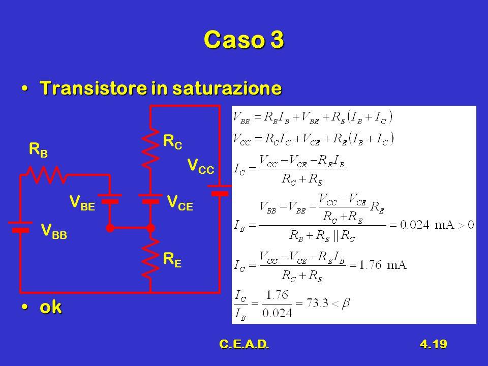 C.E.A.D.4.19 Caso 3 Transistore in saturazioneTransistore in saturazione okok V CC V CE V BB RBRB RERE RCRC V BE