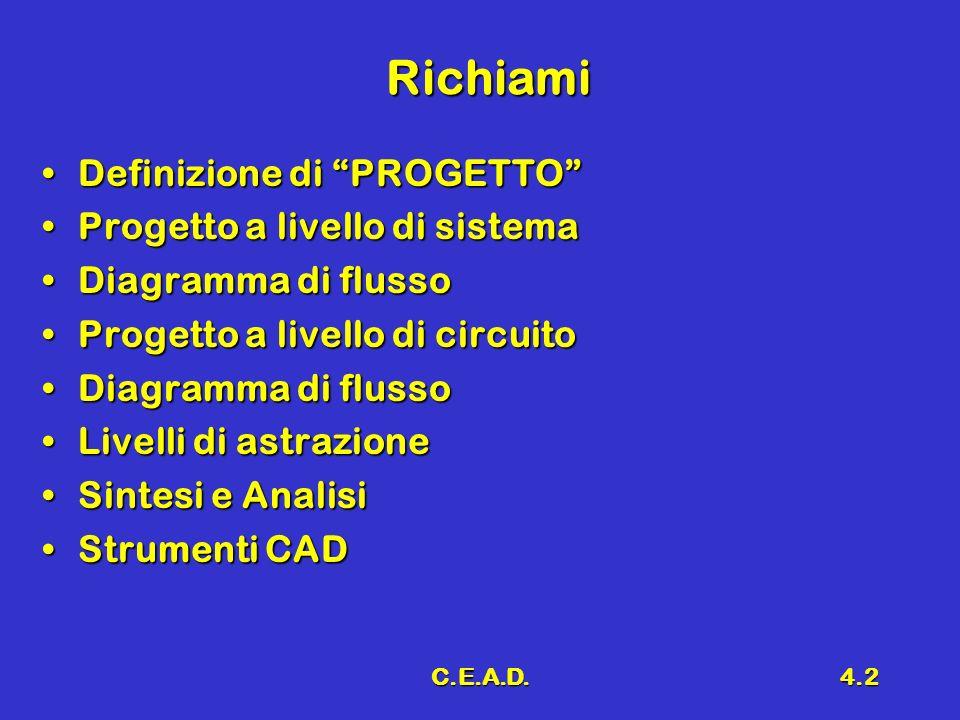 C.E.A.D.4.2 Richiami Definizione di PROGETTODefinizione di PROGETTO Progetto a livello di sistemaProgetto a livello di sistema Diagramma di flussoDiag