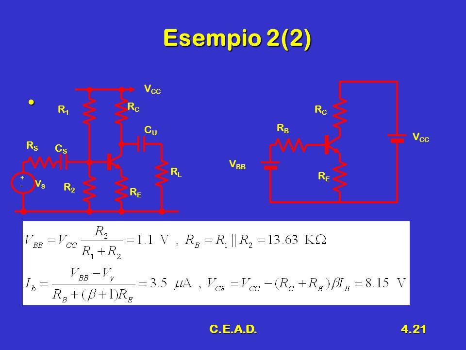 C.E.A.D.4.21 Esempio 2(2) RSRS RERE RCRC V CC +-+- VSVS CSCS RLRL R1R1 R2R2 CUCU V BB RBRB RERE RCRC V CC