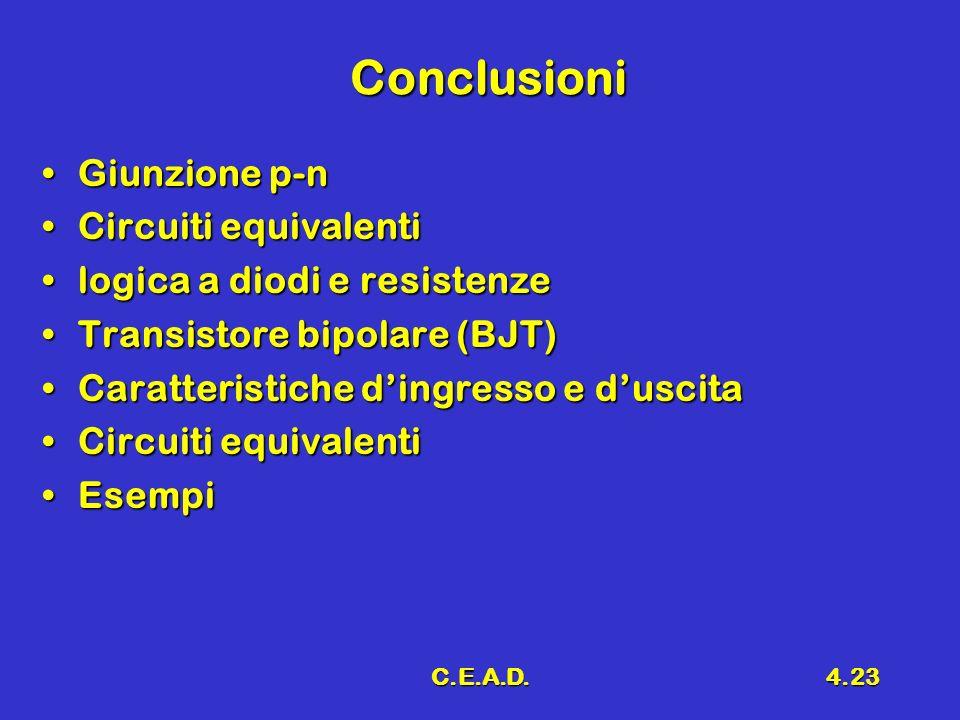 C.E.A.D.4.23 Conclusioni Giunzione p-nGiunzione p-n Circuiti equivalentiCircuiti equivalenti logica a diodi e resistenzelogica a diodi e resistenze Tr