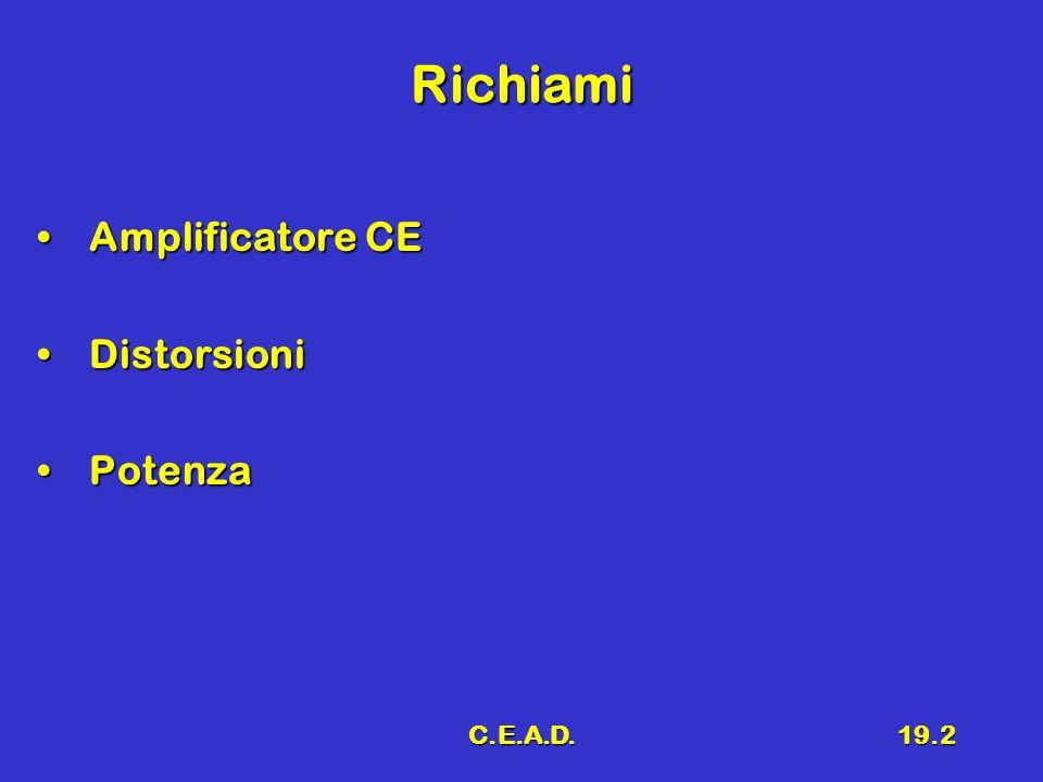 C.E.A.D.19.3 Amplificatore C-E Schema di principio DistorsioniSchema di principio Distorsioni + -- VSVS V BB RBRB CACA V CC RLRL Q VUVU + -- V CE ICIC V CC V CC /R L IMIM I0I0 ImIm VmVm V0V0 VMVM