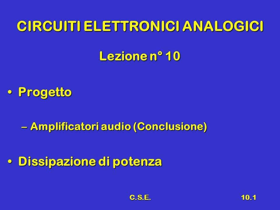 C.S.E.10.1 CIRCUITI ELETTRONICI ANALOGICI Lezione n° 10 ProgettoProgetto –Amplificatori audio (Conclusione) Dissipazione di potenzaDissipazione di pot