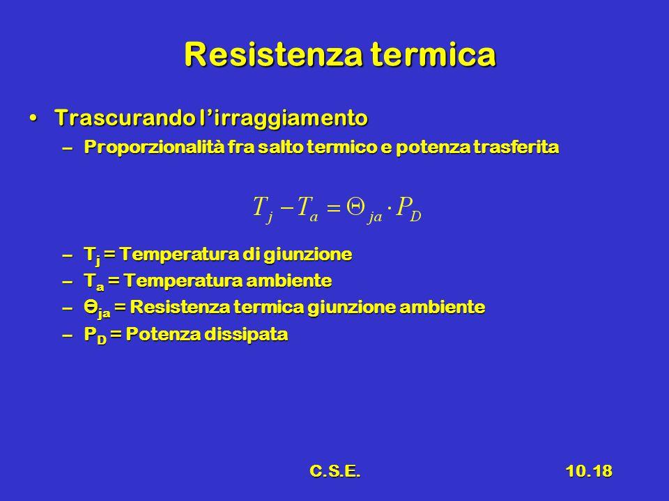 C.S.E.10.18 Resistenza termica Trascurando lirraggiamentoTrascurando lirraggiamento –Proporzionalità fra salto termico e potenza trasferita –T j = Tem